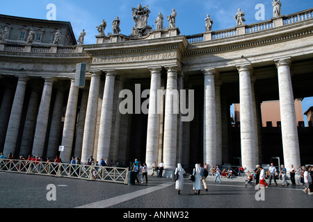 The elliptical piazza of St Peter's Square in Rome its colonnades and columns designed by Gian Lorenzo Bernini
