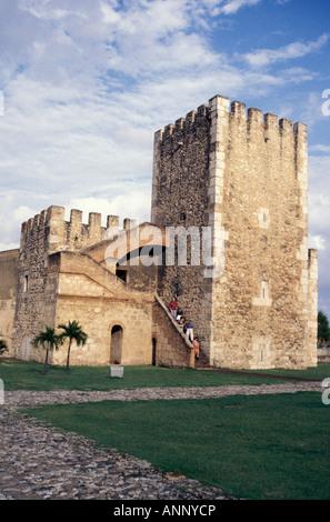 Torre de Homenaje tower in the Ozama Fortress or Fortaleza de Santo Domingo, old Santo Domingo, Dominican Republic - Stock Photo