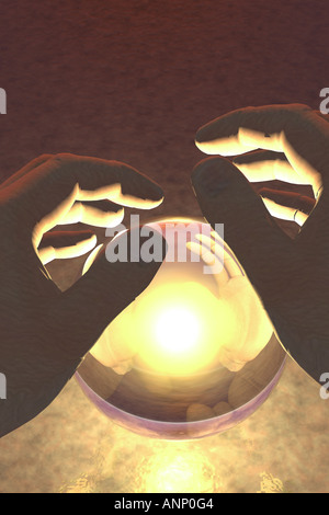 Close up of two hands over a glowing crystal ball - Stock Photo
