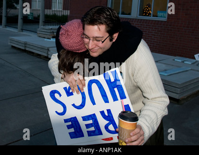 Man giving free hugs in downtown Tacoma, Washington, United States, North America - Stock Photo