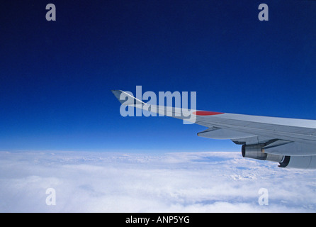 A View from Boeing 747-400 passenger aircraft window - Stock Photo