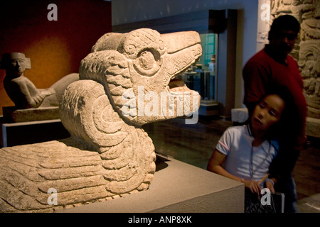 Serpant artifact on display at the National Museum of Anthropology in Mexico City Mexico - Stock Photo