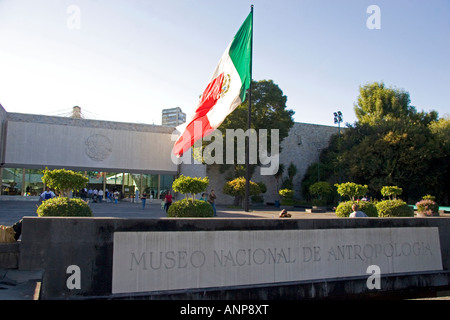 The front entrance to the National Museum of Anthropology in Mexico City Mexico - Stock Photo