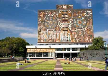 The Central Library on the campus of the National Autonomous University of Mexico in Mexico City Mexico - Stock Photo