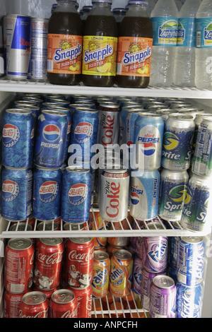 Miami Beach Florida convenience store refrigerated cold drinks canned soda Coke Coca Cola Pepsi Snapple - Stock Photo