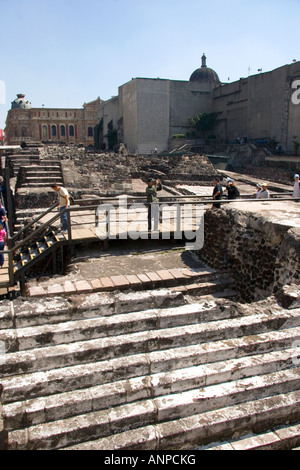 The ruins of the Great Pyramid Templo Mayor in Mexico City Mexico Also known as the Plaza of Three Cultures - Stock Photo