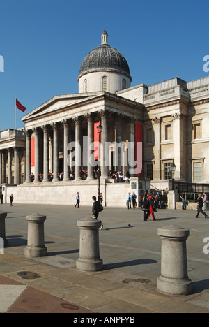 National Gallery art museum original main entrance & colonnade on the concourse overlooking Trafalgar Square in - Stock Photo