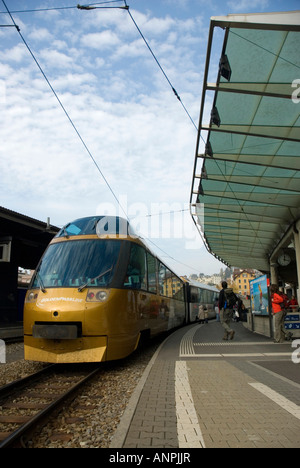 Golden Pass Panoramic Train in Montreux Station Switzerland - Stock Photo