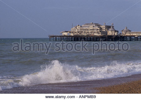 The derelict West Pier, Brighton, Sussex, England in 1991 - Stock Photo