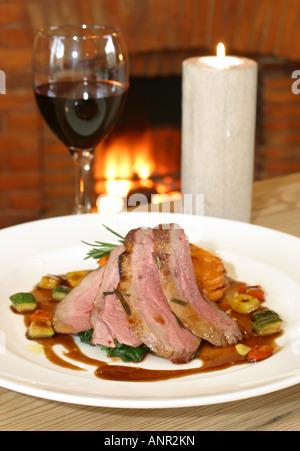 elegant Sunday roast beef - Stock Photo