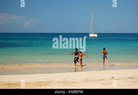 People on the beach, Punta Popy, Dominican Republic, Caribbean - Stock Photo