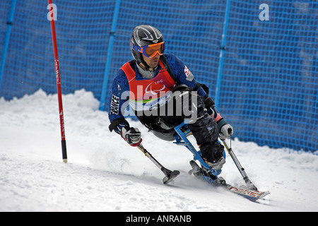 Jean Yves Le Meur of France in the Mens Alpine  Skiing  Slalom Sitting competition - Stock Photo