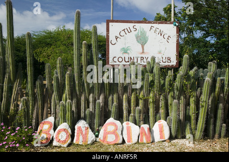 ABC Islands, BONAIRE, Rincon: Sign for the Cactus Fence arouond the Cactus Fence Country Club - Stock Photo