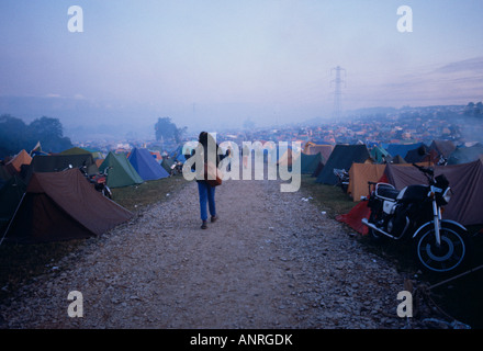 Dawn Over The Camping Site Glastonbury Festival Somerset UK Europe - Stock Photo