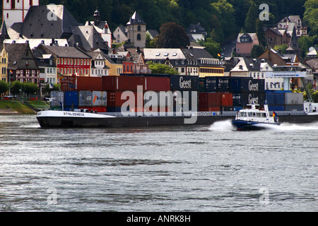 Container ship on the Rhine - Stock Photo