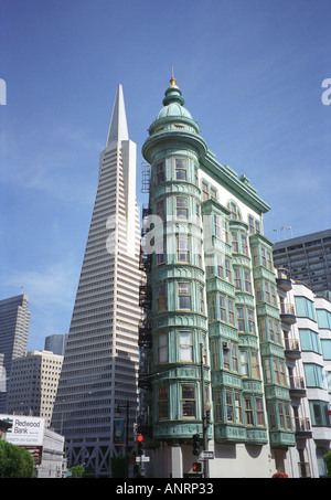 The Transamerica Pyramid building behind more traditional early 20th century architecture in San Francisco, California, - Stock Photo