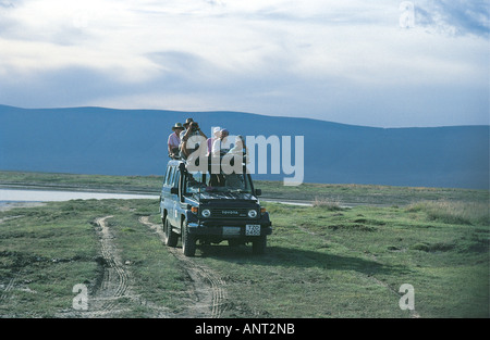 Toyota Landcruiser on a game drive in the Ngorongoro Crater Tanzania East Africa - Stock Photo
