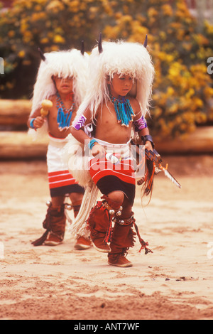 American Indian young Zuni Indian White Buffalo Dancers Gallup Inter Tribal Indian Ceremonial Gallup New Mexico - Stock Photo