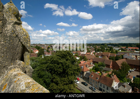 View from tower of All Saints church across the skyline of Sudbury, Suffolk. - Stock Photo