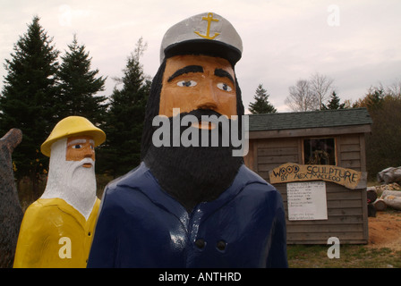 Folk art for sale on the side of the road in Nova Scotia, Canada. - Stock Photo