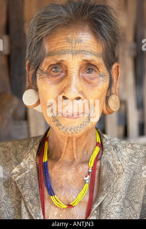 Tribal Woman With Facial Tattoos - Stock Photo