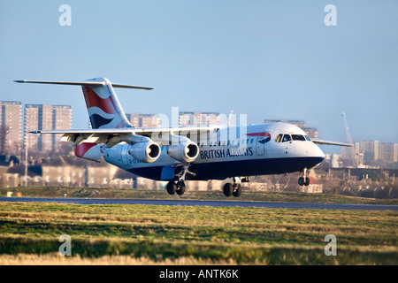 A British Airways BAE Systems Avro 146 RJ100 landing. - Stock Photo