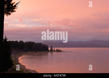Coastal view of Strait of Georgia at dusk, Parksville, Vancouver Island, British Columbia, Canada - Stock Photo
