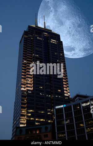Skyscrapers in Indianapolis at night. - Stock Photo