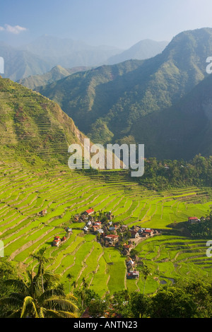 The pictoresque village of Batad in the first morning light Luzon The Philippines - Stock Photo