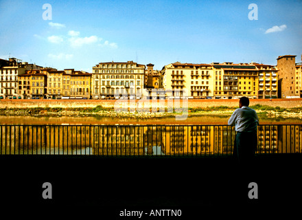 Looking across the Arno River, Florence, Italy - Stock Photo