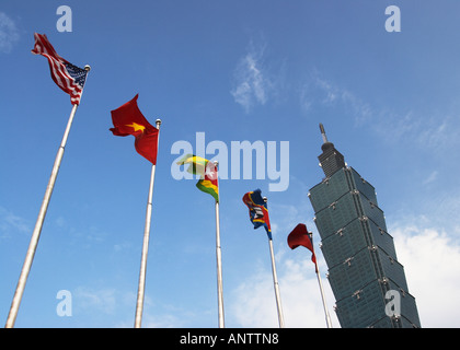 Taiwan, Flags Flying Outside Taipei 101