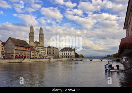 A view looking down the Limmat River towards Zurichsee in Zurich Switzerland. - Stock Photo
