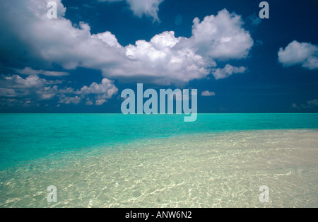 underwater sandbank island of angaga maldives - Stock Photo