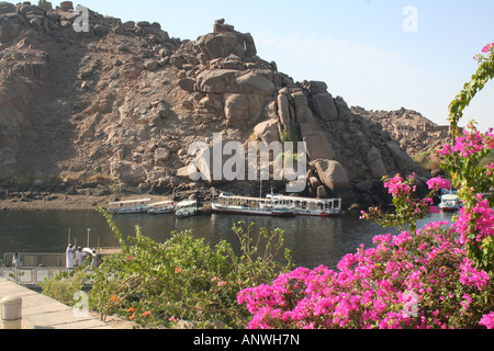 Felucca on the Water - View from Philae Temple [Agilkai Island, Near Aswan, Egypt, Arab States, Africa].        - Stock Photo