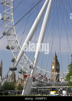 London Eye with Big Ben and the Houses of Parliament England UK Europe EU - Stock Photo