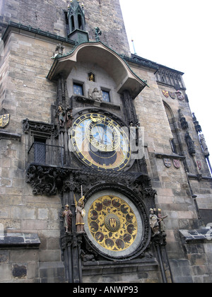 Astronomical Clock Old Town Square Prague Czech Republic Europe - Stock Photo