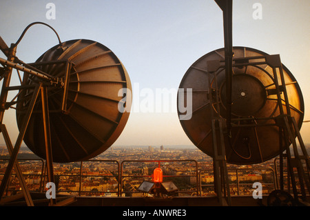 Telecommunications dishes on the radio tower Prague Czech Republic - Stock Photo