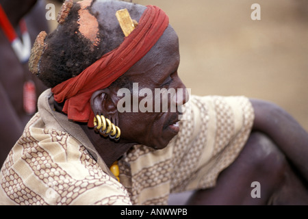 A Bume elder in his village in the Omo region of Ethiopia, Africa. - Stock Photo