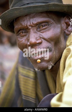 A Bume elder in his village in the Omo region of Ethiopia, Africa. (MR) - Stock Photo