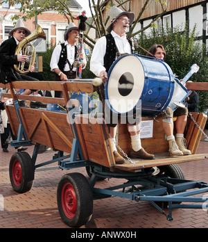 musicians on trailer at Oktoberfest in Witten, Germany, North Rhine-Westphalia, Ruhr Area, Witten - Stock Photo