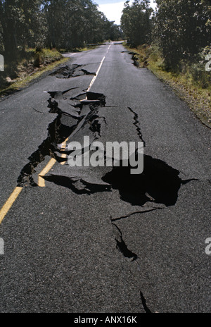 Damage caused by EARTHQUAKE of 1978, Hawaii, Hawaii Volcanoes National Park - Stock Photo