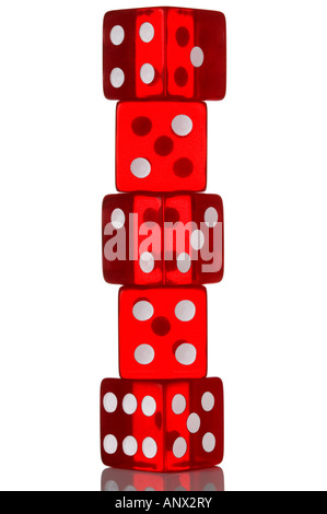 Five red transparent dice in a stack Isolated on white - Stock Photo