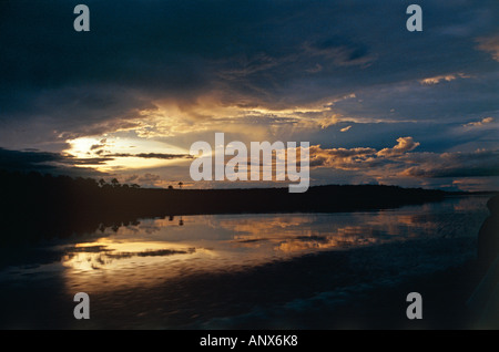 lagoon at evening near hacha falls canaima nationalpark region of gran sabena venezuela - Stock Photo