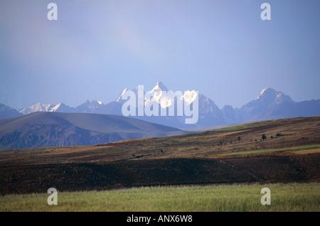 view from andean highland altiplano to mount cerro condoriri mountain range of cordillera real bolivia - Stock Photo