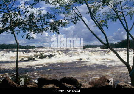 rapids near hacha falls canaima nationalpark region of gran sabena venezuela - Stock Photo