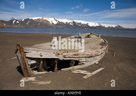 A water boat left by whalers during the early 20th century. - Stock Photo