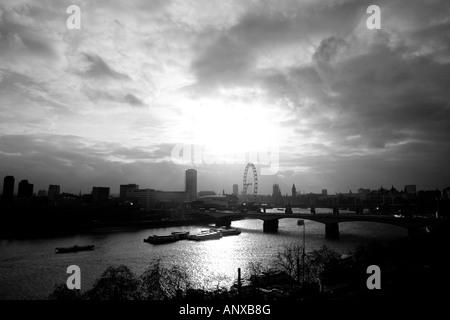 Panoramic view overlooking Waterloo Bridge, Big Ben, Parliament and the London Eye - Stock Photo