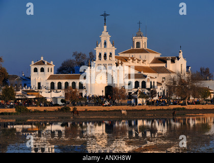 Ermita del Rocio, main church of El Rocio at sunset - Stock Photo