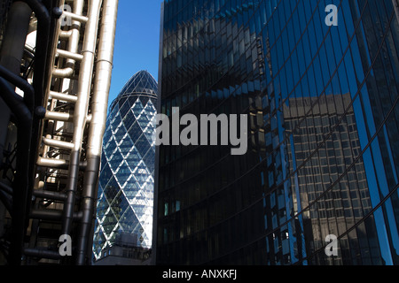 Iconic office buildings in the City of London - Stock Photo
