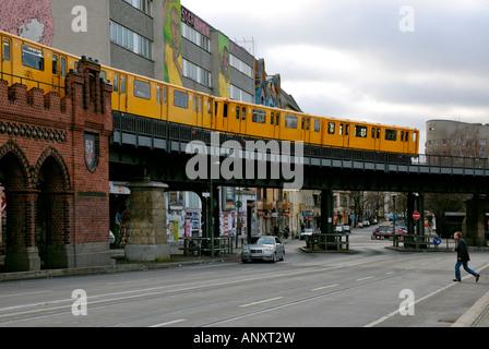 Berlin, approach to Oberbaum Bridge with U Bahn (Underground Train), Germany. - Stock Photo